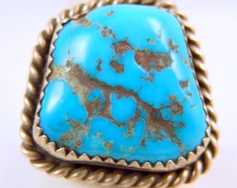 Vintage Navajo Turquoise Sterling Silver Ring Size 9.75