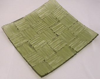 Fused Glass Plate - Green Stripes