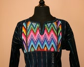 Hand Embroidered Blouse- Long Sleeve- Vintage Huipil- Denim- Cotton- (Medium) Boho- Hippie- Mexico- Guatemala