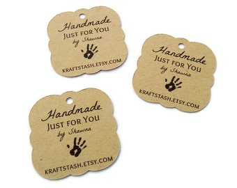 Handmade Tag - Gift Tags - Shop Tags - Hang Tags - Choose Your Size - Kraft Tags -  Jewelry Tags - Scalloped Tag HM3