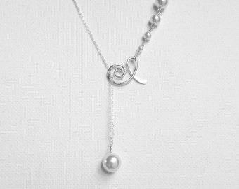 White Pearl Necklace Swarovski Pearl Necklace Lariat Necklace Swarovski Wedding Jewelry Sterling Silver Lariat Necklace White Pearl Wedding