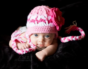 Crochet baby girl hat with earflaps and braids newborn hat Winter hat Digital pattern. sizes 0-6 months