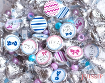 Download Gender reveal hershey kiss stickers Hershey kiss label Baby shower decor It's a girl It's a boy Chevron Stripes Pink Blue Party