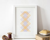 Handmade for Rachel. Stitched A4 paper artwork. Abstract geometric pattern in colourful cotton thread.
