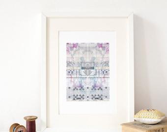 Vintage Embroidery Symbols A4 Art Print, contemporary textile pattern design artwork by Rachel Parker in black, blues, purples, pinks.