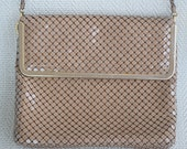 "Vintage 1940's Cocoa Tan Taupe Metal Mesh Handbag Clutch Purse by ""Studio Imports"""