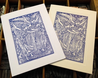"""Letterpress Note Cards """"Angelic Scene"""" - Set of 10 cards with matching envelopes"""