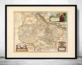 Vintage Map of Umbria Tuscany Toscana Italy 1662