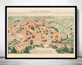 Old Map of Florence Firenze Monumentale 1910
