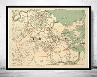 Old Map of Quincy 1908 Massachusetts