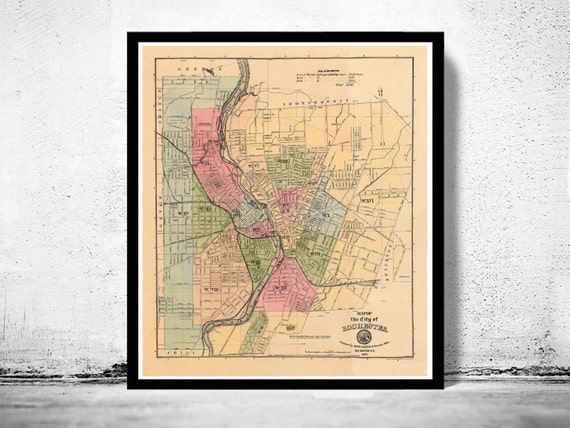 Peru (IL) United States  City pictures : Old Map of Rochester United States 1882 by OldCityPrints on Etsy