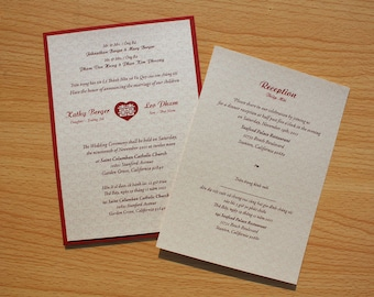 Bilingual English And Vietnamese Oriental Chinese Double Happiness Inside A  Heart Symbol Wedding Invitations Suite (