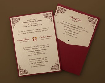 bilingual english and vietnamese tradition wedding invitations, invitation samples