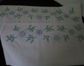Pair of vintage cross stich embroidered pillow cases