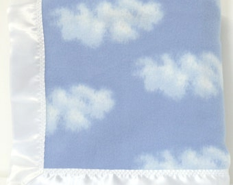 Baby Blanket   Blue Fleece Blanket   Cloudy Skies Fleece Blanket   Blue Toddler Blanket   42 x 42 Inch   FREE SHIPPING USA
