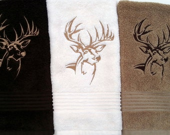 Hand Towels | Northwoods Buck Silhouette Hand Towel | Embroidered Hand Towels | 16 x 25 Inch
