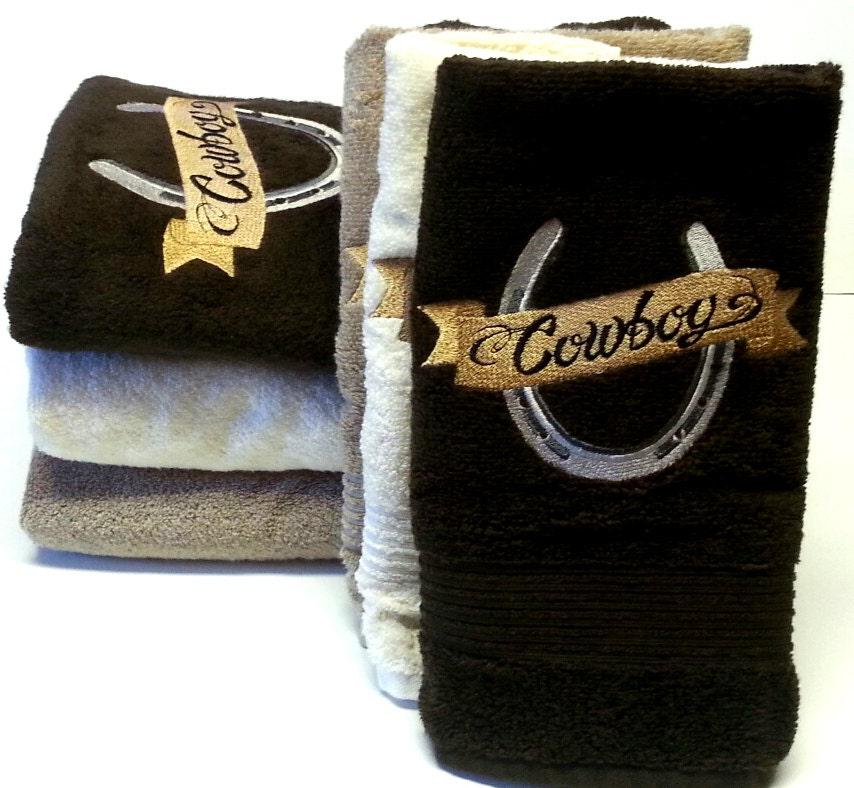 bath towels on sale cowboy horseshoe bathroom towel sets. Black Bedroom Furniture Sets. Home Design Ideas