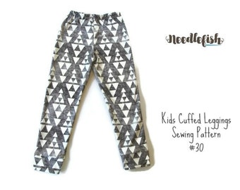 KIDS CUFFED LEGGINGS Sewing Pattern - Hipster Leggings Pattern - Sizes 3-8 - Easy Leggings Pattern - Toddler Leggings Pattern