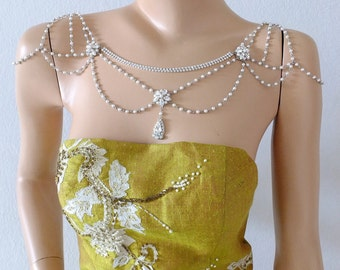 SWAROVSKI Bridal shoulder necklace for wedding, bridesmaid, proms, parties, cocktail, evening, everyday and special occasion. Style #001
