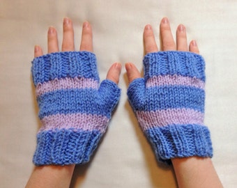 Pink & blue ladies gloves - gauntlets - fingerless mittens