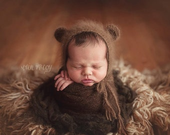 Newborn Hats / Photography Props / Animal Hats / Newborn Photo Props / Newborn Boy Hats / Knitted Baby Hats / Baby Hat / Knitted Bear Bonnet