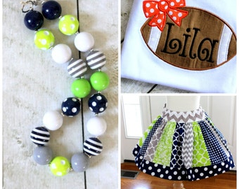 Seahawks football outfit girls football outfit Lime green navy and gray skirt set with football monogrammed top girls Chevron polka dot
