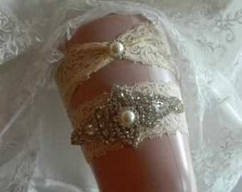 Ivory Wedding Garter, Crystal Bridal Garter Set, Vintage Inspired Wedding Stretch Lace Garter, Bridal Garter, Garter
