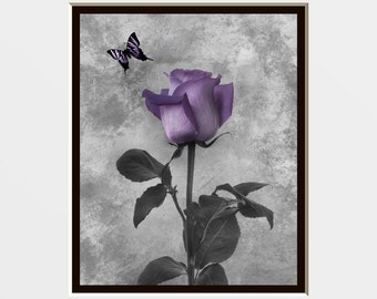 Purple Gray Rose Flower Butterfly Wall Art Photography, Purple Home Decor Wall Art Matted Picture