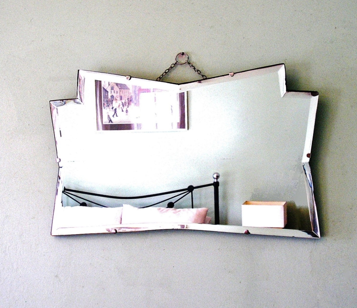 Vintage Art Deco Decagon Bevelled Glass Mirror 1930s Wall