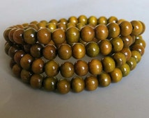 108pcs Green Sandalwood Beads - A347