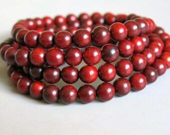 108pcs Red Rosewood Wood Beads Prayer Beads Japa Mala 8mm - A456