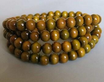 108pcs Green Sandalwood Beads - A347
