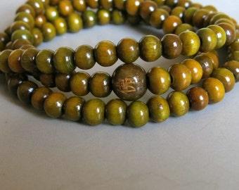 108pcs Green Sandalwood Beads 6mm - A465