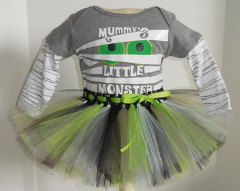 nb 0/3 3/6 6/9 12 18 24 months  Mummy's Little Monster Onesie and Tutu outfit set for baby girl Halloween costume  m month size newborn
