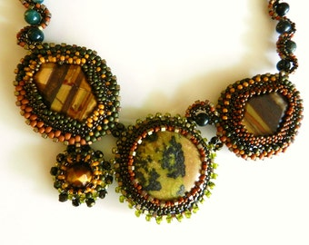 Bold Statement Necklace  Green Brown Yellow OOAK Gemstone Stitched Necklace Asymmetrical Art Design Jewelry by AlfaStudioArtistica