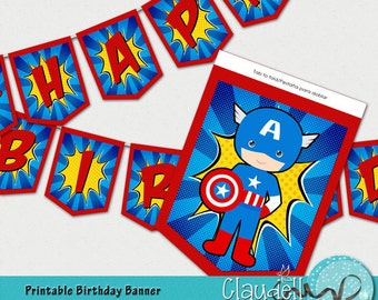 Captain America Superheroes Inspired Birthday Party Printable Banner - 300 DPI