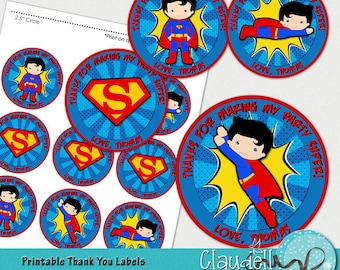 """Superheroes Superman Inspired Printable Thank You Labels / Tags / Party Circles 2.5"""" - 300 DPI"""