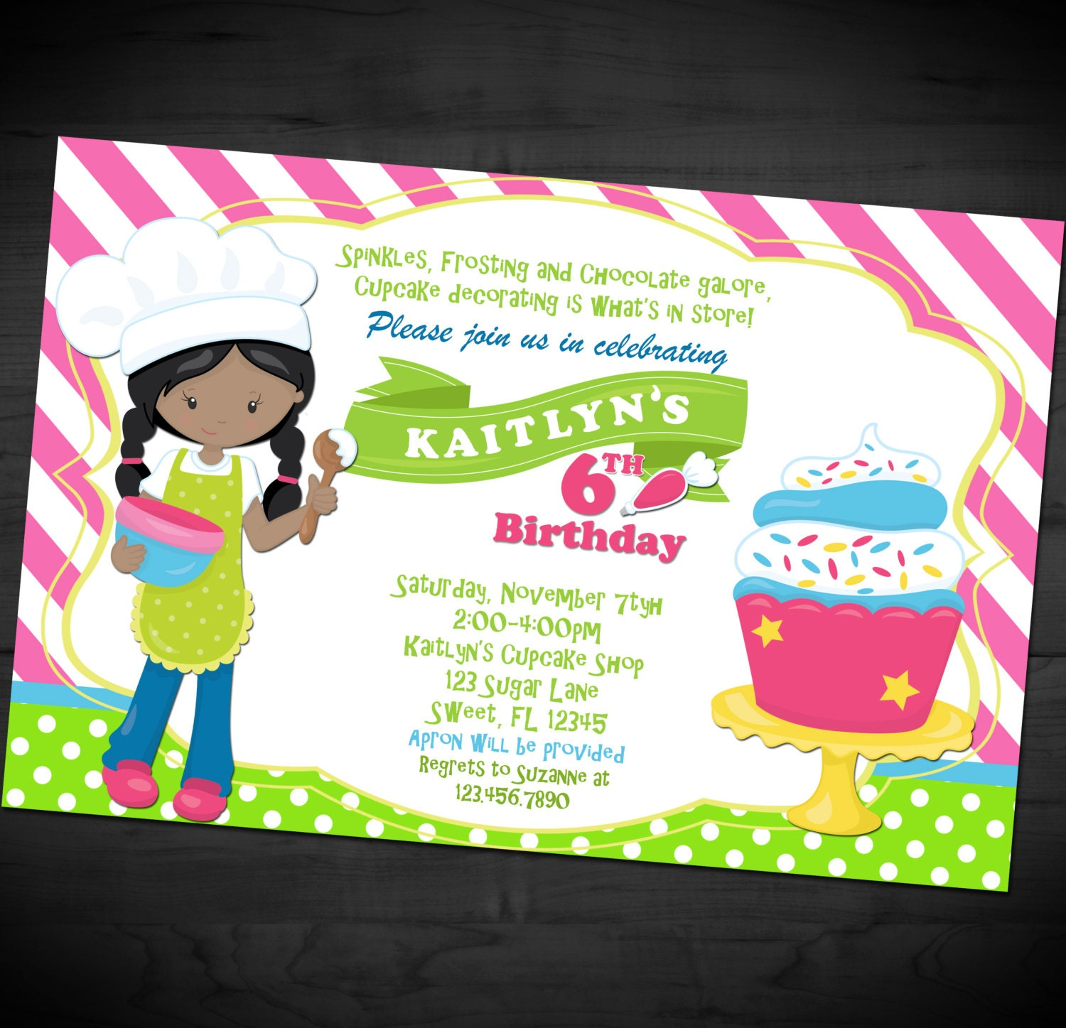 Cake Decorating Birthday Party Invitations : Cupcake Decorating Birthday Invitation Cake Decorating