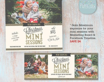 Holiday Mini Sessions - Christmas Marketing Board and Facebook Timeline Bundle- Photoshop templates - IC012 - INSTANT DOWNLOAD