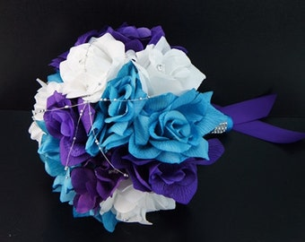 "8"" Bouquet - Turquoise/Malibu, Purple, and White Artificial Rose Bouquet"