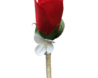 Boutonniere-Red rose bud with hydrangea petal accent *Pick Ribbon color *