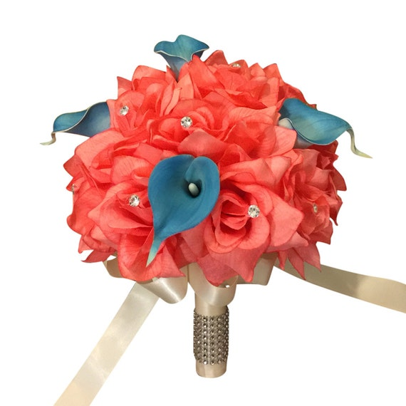 9 Bouquet-Coral Turquoise With Ribbon Pick Ribbon Color