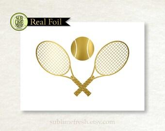 Gold Foil, Silver Foil, Tennis Print, Sports Print, Tennis Gift
