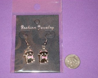 Cat Charm Earrings - A