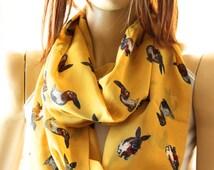 Rabbit infinity scarf, Woman Scarves, rabbit print scarf, loop scarf, animals scarf, woman scarf, funny scarf, fashion scarf, trendy scarf
