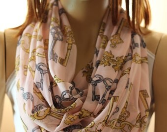 Heart Key Pink Infinity Scarves - Loop Scarves - Love - Heart - Love Gift - Love Key Scarves - Accessories - Woman's Accessories -Gift ideas