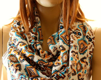 Tribal aztec cotton infinity scarf - spring scarf - woman scarves - accessories - woman accessories - scarves - scarf - wraps - aztec