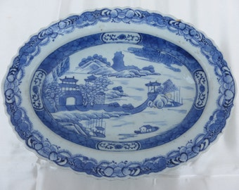 Antique Chinese Export CANTON deep PLATTER. Blue and White. 19th Century.