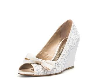 white estoril wedding wedges white lace bridal peep toe wedge white wedding wedges
