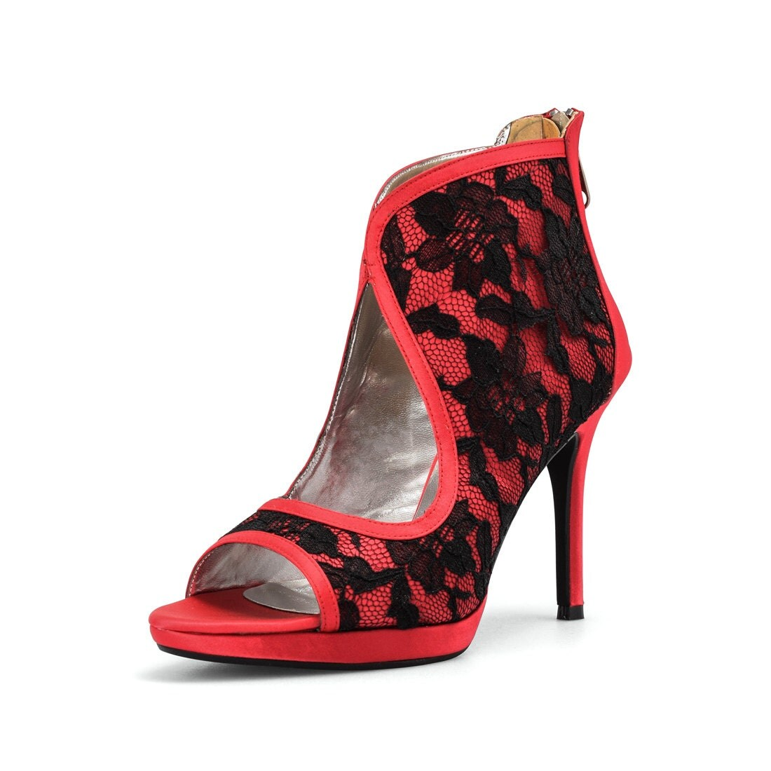Custom Made Shoes Red Bootie Wedding ShoesRed Bridal